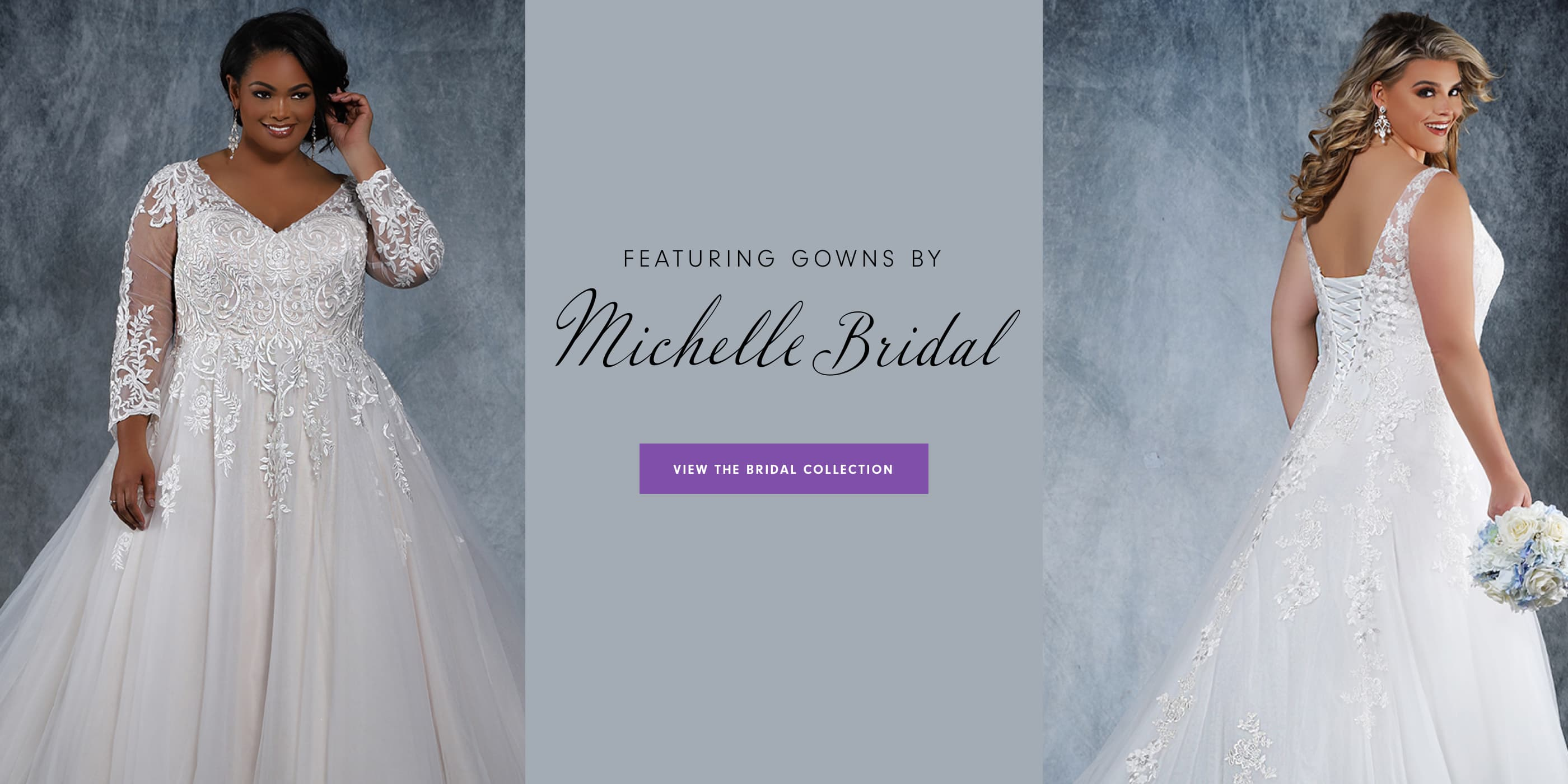 Picture of two models wearing Michelle Bridal wedding dresses