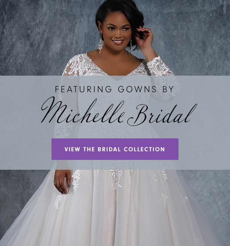 Picture of model wearing a long sleeved Michelle Bridal wedding dress